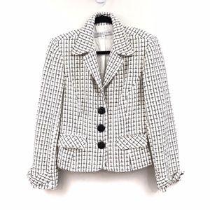 Trina Turk Black White Plaid Blazer size 10